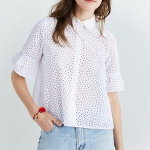 Madewell White Eyelet Button Up Women's S
